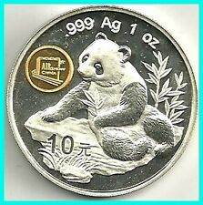 CHINA - 1998 - 10 YUAN- PANDA SILVER 1 OZ. COIN .999