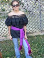 BLACK GYPSY PEASANT BLOUSE LACE MEXICAN ONE SIZE FITS