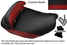 DARK RED & BLACK CUSTOM FITS PIAGGIO HEXAGON 125 DUAL LEATHER SEAT COVER