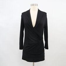 Velvet Faux Wrap Top Womens M Medium Black Surplice Fitted Cotton Stretch