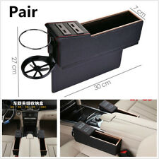 Pair Car Seat Storage Box Organizer With Foldable Cup Holder & 4 USB Charge Port