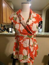 Women's Banana Republic Orange & Green Floral Print Silk Blouse Size S