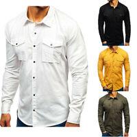 Tops Shirts Casual Long Military Cargo Tee Army Work Pocket Shirt Sleeve Men's