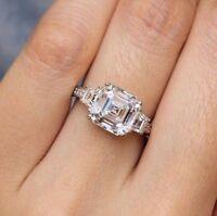 Certified 2.40Ct Asscher Cut Diamond Beautiful Engagement Solid 14K Gold Ring
