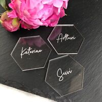 Hexagon Table Place Name, Acrylic, Personalised Name Setting, Wedding Decoration