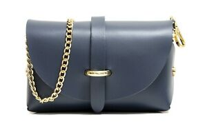 Real Leather Small Evening Clutch Bag with Detachable Gold Chain Strap.
