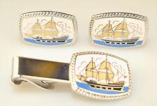 VINTAGE ENAMEL CUFFLINKS & TIE BAR SET WITH GALLEON SAILING SHIP ON BLUE WATER