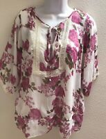 top blouse 1X plus size womens sheer floral print casual career