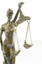 Real Bronze Metal Statue with Marble Lady Blind Justice Scales Lawyer Sculpture