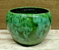 Antique Arts & Crafts Pottery Vase Planter Old Thick Blue Green Drip Glaze