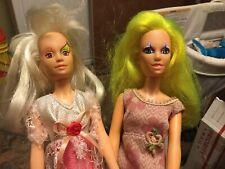 2 Vintage Hasbro 1985 Jem & The Holograms Dolls Pizzazz & Roxy of The Misfits