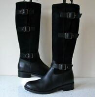 "CLARK`S ""TAMRO MARINA"" BLACK LEATHER KNEE HIGH FLEXI CALF BOOTS UK 4D RRP £135"