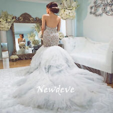 Trumpet Rhinestones Beads Wedding Dress Lace Sweetheart Bridal Gowns Custom Made