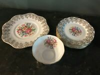 Vtg Clare Pattern Bone China Set of 8  England Gold & Floral