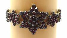 Genuine Natural Bohemian Garnet Bracelet with Star / Snowflake Rosettes (#C3525)