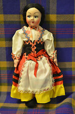 "Vintage 9"" 1950s Paper Mache Face/Cloth Body Doll, in Ethnic Dress Made in Italy"
