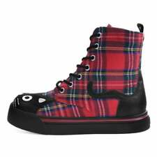 T.U.K. Red Plaid Sneaker Combat Boots TUK Boots A9426L Vegan Friendly Boots