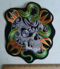 "Snake Skull Back Patch Motorcycle Biker Vest Jacket Tattoo Art 12"" x 9"" Iron On"