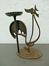 Bougeoir fer forge coq stylise dlg ateliers Marolles candlestick rooster 1950