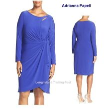Adrianna Papell Royal Draped Keyhole Dress Tulip Hem Cocktails Wedding NEW 16W
