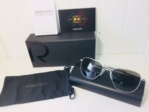 RANDOLPH AF085 AVIATOR Matte Chrome w/ Gray 55mm Glass Lenses Sunglasses $219