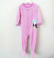 NWT Carters Girls Fleece Blanket Sleeper Footed Pajamas 3T Penguin Purple Stripe