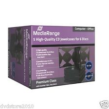 5 Custodie MediaRange Box CD DVD Blu-ray Jewel Case 6 posti Sestupla Box34-6