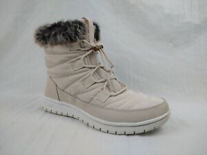Ryka Senna Snow Line Ecru Quilted Faux Fur Water Repellant Women Size 10 W US