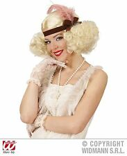 Blonde Curly Wig With Headband And Feather 1920 Charleston Burlesque Fancy Dress