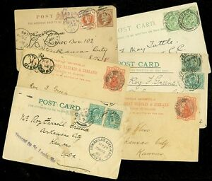 GREAT BRITAIN : Interesting group of 6 Post Cards to USA Just a few small faults