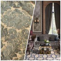 NEW! Designer 100% Silk Taffeta Damask Green & Copper Fabric- Drapery GFSAG0002