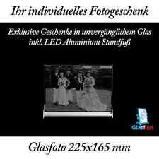 2D Glasfoto Quader Kristall Geschenk Foto Graviert Glasfun 225x165 mm