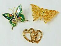 Lions International Club Lot of 3 Brooches, 2 Butterflies & 1 Heart on Heart