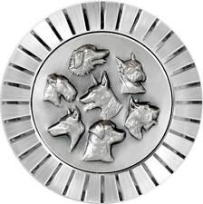 Hund Hunde Plakette Kühlergrill Relief Metall Emblem Medaille Halter Schrauben