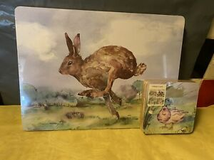 British Wildlife Set 4 Tablemats Place Mats & Coasters - Cork Back - NEW IN PACK