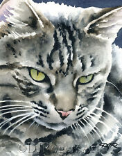 TABBY CAT Watercolor 8 x 10 ART Print by Artist DJR