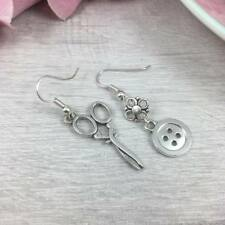 Sterling SILVER Mismatched SCISSORS and Button EARRINGS Dangle Drop HOOK Kitsch
