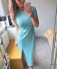 Boohoo Size 14 Womens Blue Ribbed Side Slit Short Sleeved Stretch Maxi Dress