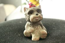 Porcelain Dog Figurine Schnauzer Puppy Red Bow Ribbon Homco Sitting 2