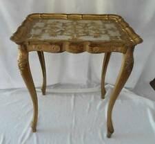 Vintage Set 3 Florence Italy Gold Gilt Stacking Tables Hollywood Regency Tole