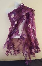 New Purple Embroidered Floral Tulle Lace Top Shrug Wrap Bridal Wedding Jacket