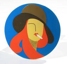 Vintage stunning huge French Galalith Bakelite Pin Brooch mod smoking girl