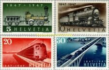 EBS Switzerland Helvetia 1947 Centenary of Swiss Railways Michel 484-487 MNH**