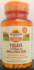 Sundown Naturals Folic Acid 800mcg Tablets 100ct -Expiration Date 05-2023