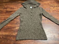 MAURICES Women's Brown Quarter Button Down Hoodie Size Small Regular