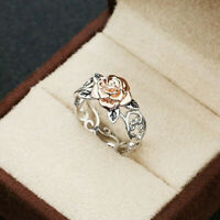 925 Silver Exquisite Two Tone Floral Ring 14k Rose Gold Flower Wedding Jewelry