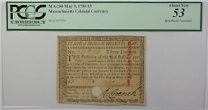 May 5, 1780 $3 Massachusetts Colonial Currency Note PCGS About New 53 MA-280