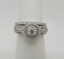 1CT Diamond Halo Solitaire Engagement Wedding Ring Bridal Set 14K White Gold