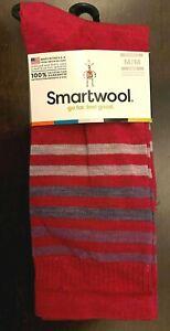 Smartwool Spruce Street Striped Merino Wool Crew Socks Dark Pink & Purple Size M