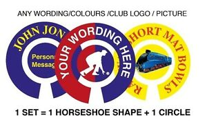 """6 SETS PERSONALISED BOWL STICKERS ANY WORDING 1"""" LAWN FLATGREEN & INDOOR BOWLS"""